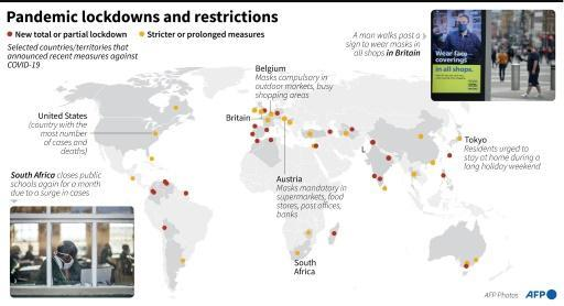 Major countries and territories which have recently adopted new measures to slow the spread of COVID-19, as of July 23