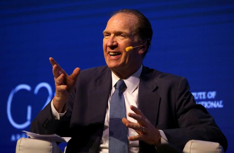 David Malpass, Under Secretary for International Affairs at the U.S. Department of the Treasury, gestures during the 2018 G20 Conference in Buenos Aires