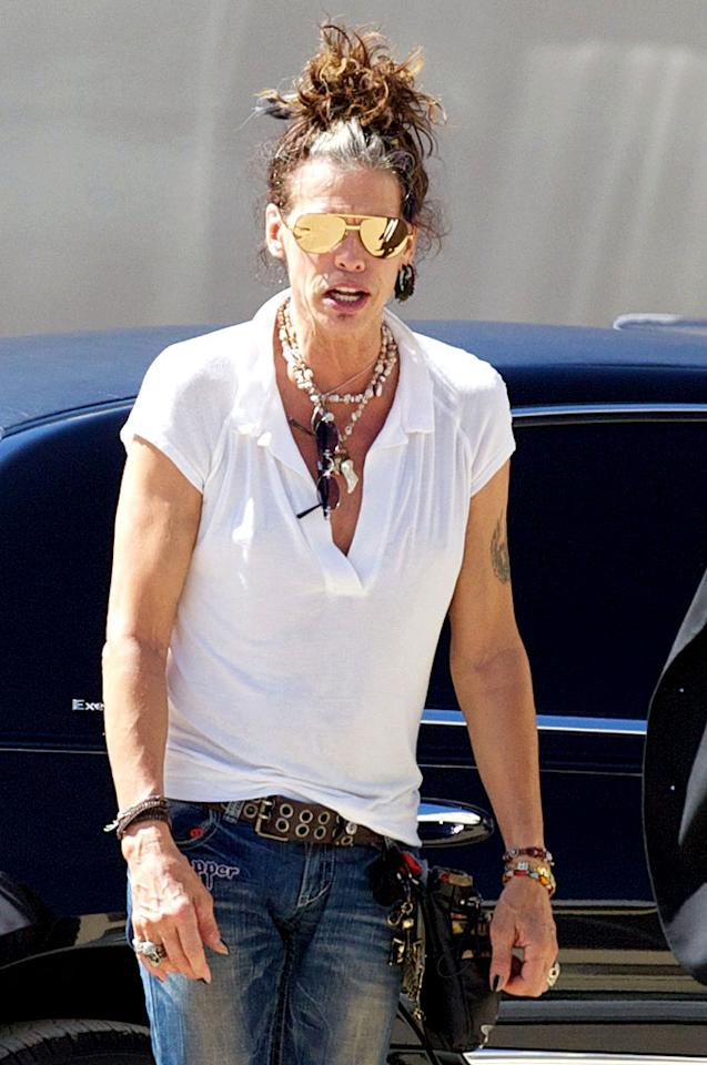 """The following afternoon, Steven donned an interesting updo while out and about in Los Angeles. Needless to say, dude looks like a lady. (9/20/2012)<br><br><a target=""""_blank"""" href=""""http://twitter.com/YahooOmg"""">Follow omg! on Twitter!</a>"""