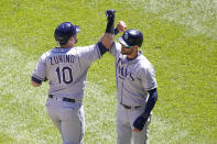 Tampa Bay Rays' Mike Zunino, left, celebrates his two-run home run with Kevin Kiermaier, right, during the seventh inning of a baseball game Wednesday, June 16, 2021, in Chicago. (AP Photo/Charles Rex Arbogast)