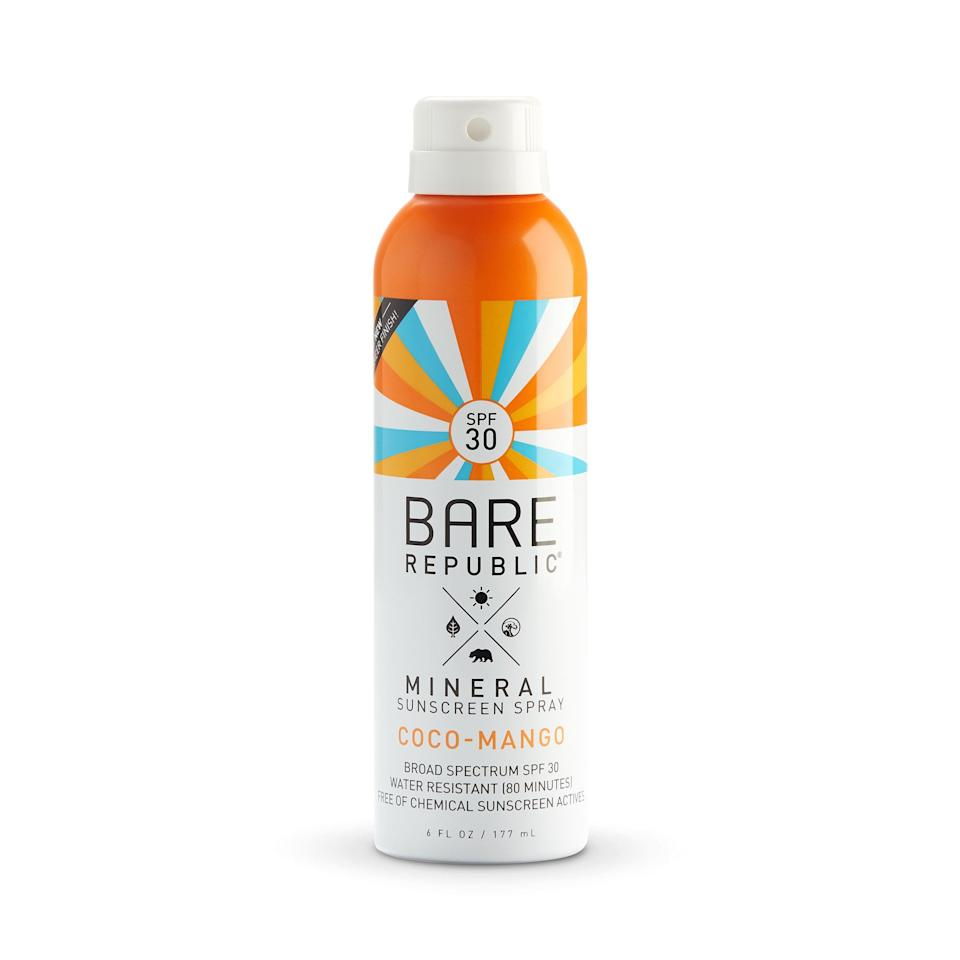 """<p><strong>Bare Republic</strong></p><p>walmart.com</p><p><strong>$9.99</strong></p><p><a href=""""https://go.redirectingat.com?id=74968X1596630&url=https%3A%2F%2Fwww.walmart.com%2Fip%2F359964403&sref=https%3A%2F%2Fwww.thepioneerwoman.com%2Fbeauty%2Fskin-makeup-nails%2Fg32381661%2Fbest-natural-sunscreen%2F"""" rel=""""nofollow noopener"""" target=""""_blank"""" data-ylk=""""slk:Shop Now"""" class=""""link rapid-noclick-resp"""">Shop Now</a></p><p>Pretend you're on a tropical beach with this coconut mango-scented mineral spray—even if you're just running errands! The SPF 30 formula offers broad-spectrum protection.</p>"""