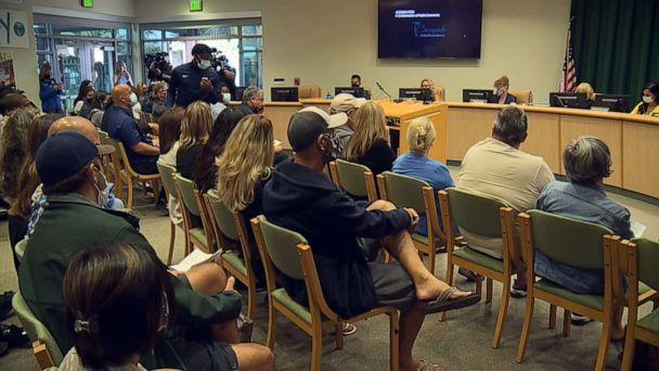 PHOTO: Members of the community participate in an emergency meeting of the trustees of the Coronado Unified School District after an incident during a basketball game between Coronado High School and Orange Glen High on June 19, 2021. (KGTV)