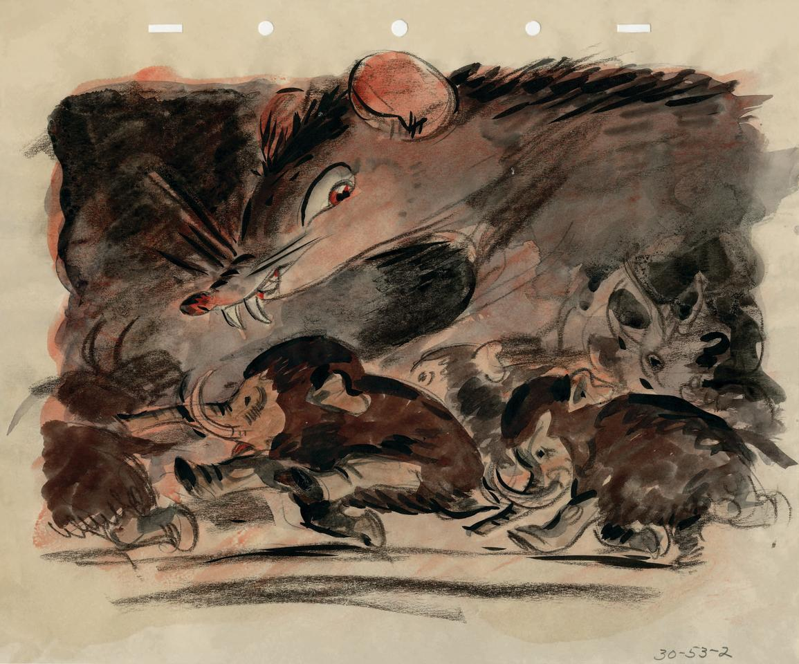 <p>For his book, Ghez wound up selecting seven of the images, which show the elephants peacefully snacking away on jungle fruits before being ambushed by a pack of monstrous mice.<br />(Credit: James Bodrero/Disney/Chronicle Books) </p>