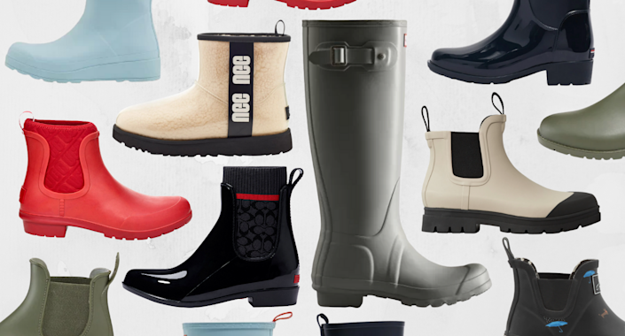 best rain boots for fall 2021 including uggs, hunter boots, coach rain boots, everlane rain boots