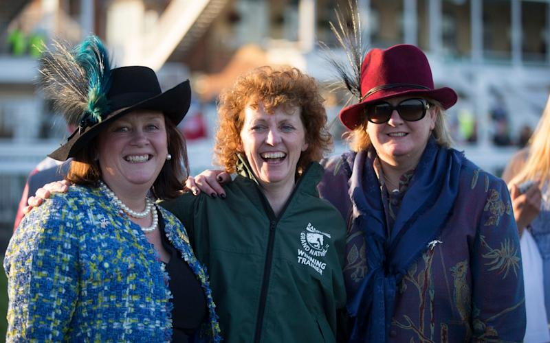 Owners Belinda McClung (left) and Deborah Thompson (right) with One For Arthur's trainer Lucinda Russell - Copyright ©Heathcliff O'Malley , All Rights Reserved, not to be published in any format without p