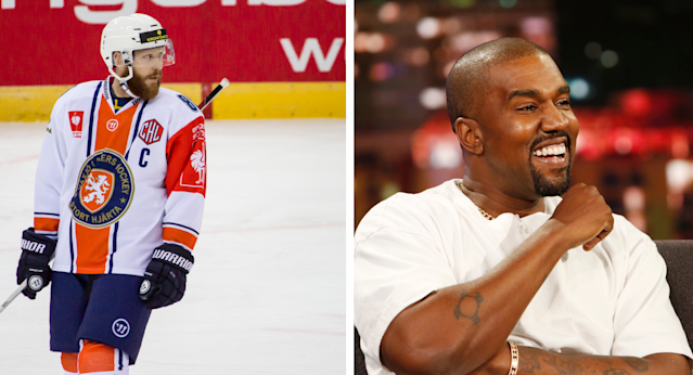 Kanye West's music appeared in a promotional video for the SHL's Vaxjo Lakers. (Getty Images)