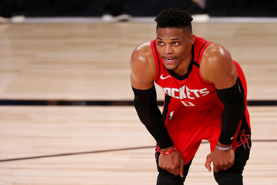 Rockets star Russell Westbrook is nursing a strained right quadriceps. (Mike Ehrmann/Getty Images)