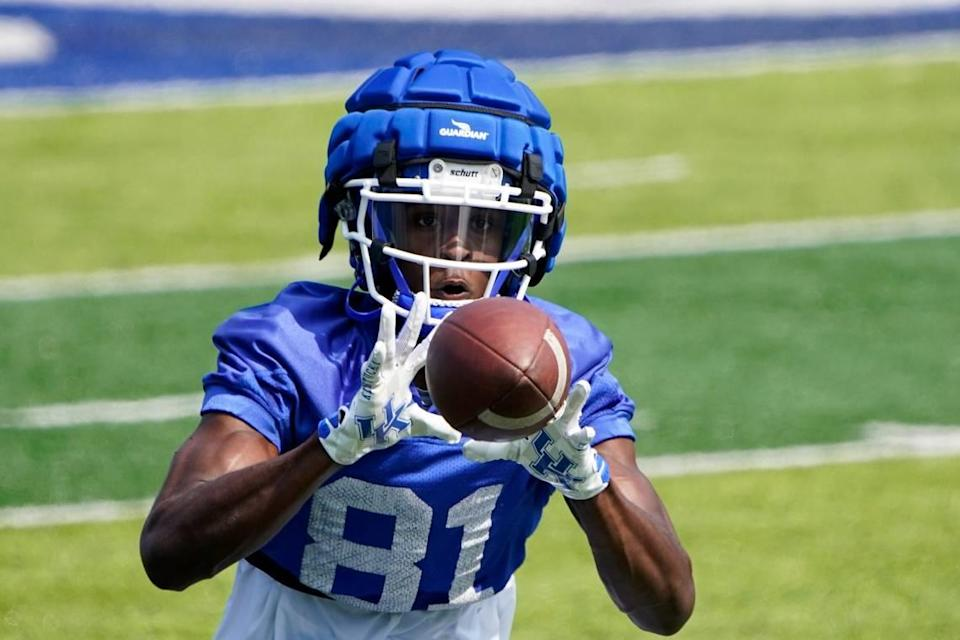 Kentucky wide receiver Isaiah Epps (81) caught the first touchdown pass of his college career in UK's 28-23 victory over Chattanooga last week.