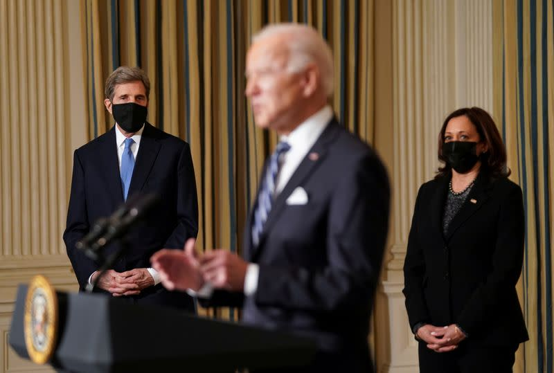 FILE PHOTO: U.S. President Joe Biden speaks about administration plans to confront climate change at the White House ceremony in Washington