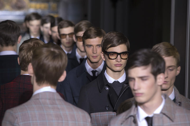 Models wear creations by fashion designers Maria Grazia Chiuri and Pier Paolo Piccioli for Valentino, as part of their presentation for the men's Spring Summer 2013 Haute Couture fashion collection presented in Paris, Wednesday, Jan. 16 2013. (AP Photo/ Jacques Brinon)