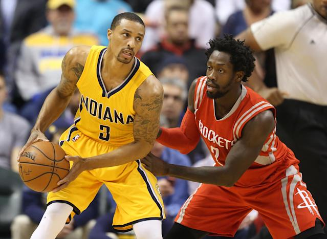 Patrick Beverley guards Indiana's George Hill on Monday. (USA TODAY Sports)
