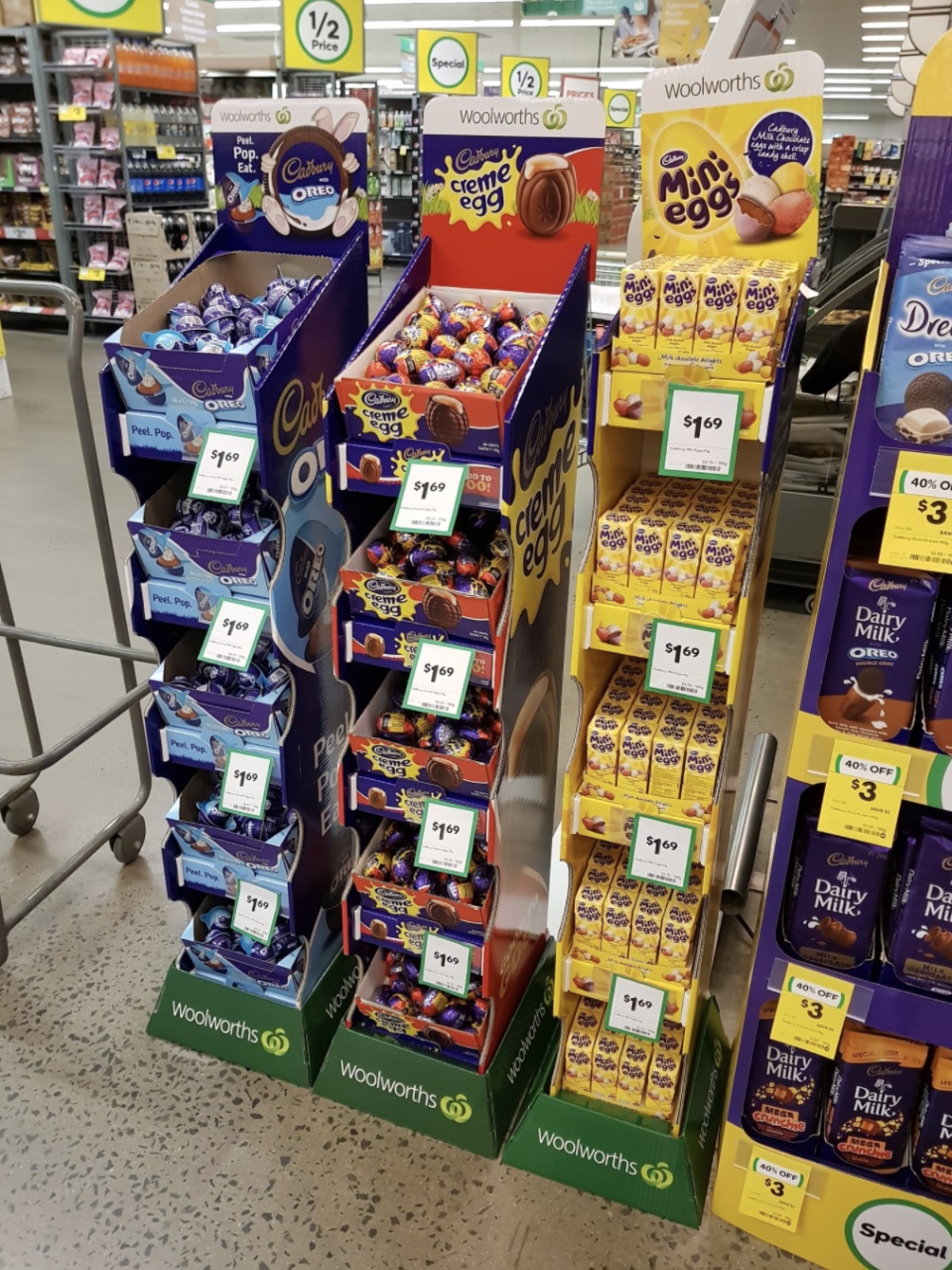 Photo shows Easter eggs for sale in a display at a Woolworths supermarket.