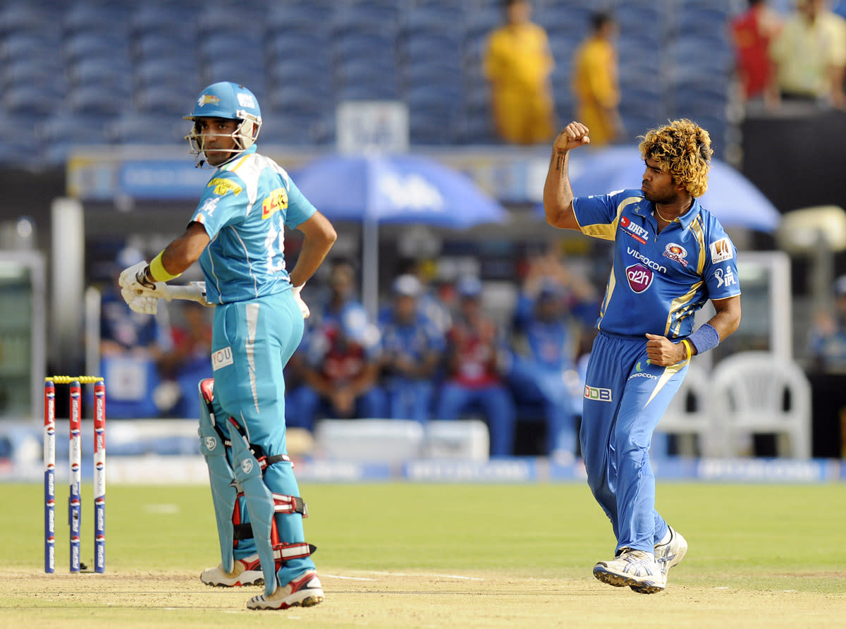 Lasith Malinga of Mumbai Indians celebrates the wicket of Robin Uthappa of Pune Warriors during match 58 of the Pepsi Indian Premier League ( IPL) 2013  between The Pune Warriors India and the Kolkata Knight Riders held at the Subrata Roy Sahara Stadium, Pune on the 11th May 2013. (BCCI)