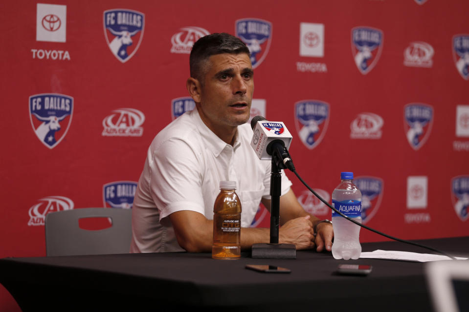 FC Dallas head coach Luchi Gonzalez answers questions during a press conference after an MLS soccer match against Minnesota United in Frisco, Texas, Saturday, Aug. 10, 2019. FC Dallas beat Minnesota United 5-3. (AP Photo/Roger Steinman)