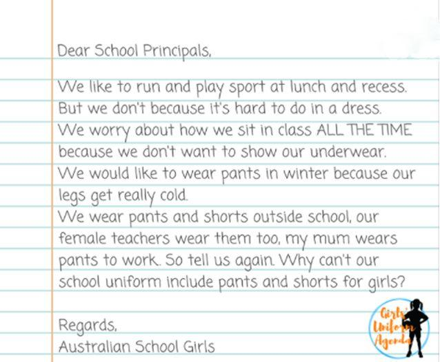 A Facebook group is advocating for schoolgirls to have the choice whether to wear pants or a skirt. Source: Facebook / Girls Uniform Agenda