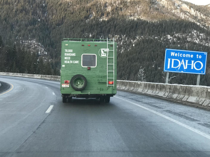 The Medicaid Mobile crosses from Utah back into Idaho on the Fourth of July Pass. (Photo: courtesy of Emily Strizich)