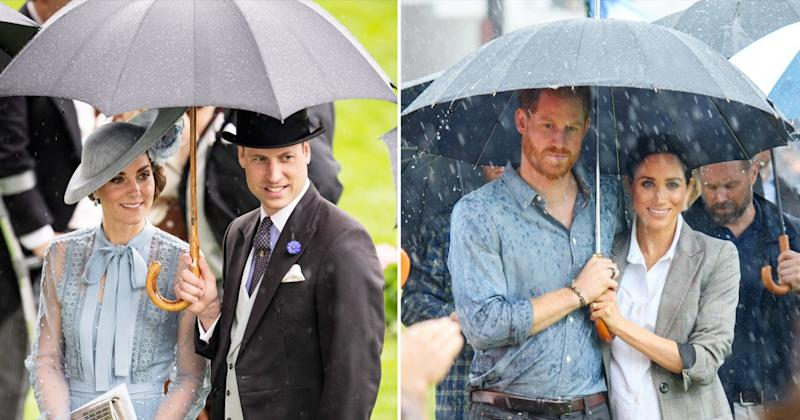 Kate Middleton and Prince William Just Cuddled Up Under an Umbrella — Just Like Meghan and Harry!