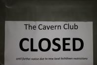 A closed sign is seen on The Cavern Club amid the outbreak of the coronavirus disease (COVID-19) in Liverpool