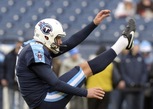 FILE - In this Sunday, Dec. 24, 2017 file photo, Tennessee Titans punter Brett Kern warms up before an NFL football game against the Los Angeles Rams in Nashville, Tenn. Brett Kern of the Tennessee Titans, who earned his first Pro Bowl nod in 2017 when he also named the top punter in these rankings, joined Los Angeles Rams Johnny Hekker receiving two first-place votes and finished third. Kern is fourth with a gross average of 40.5 yards with his net taking a hit from a struggling punt coverage unit. But the 11-year veteran still has a strong leg with a long of 62 yards this season. (AP Photo/Mark Zaleski, File)