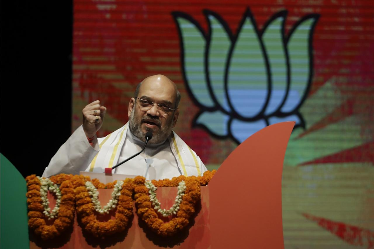 <p>Bharatiya Janata Party President Amit Shah speaks during a ceremony to felicitate Shah and the newly elected Delhi municipal officials from the party in New Delhi, India, Tuesday, May 2, 2017. The Hindu nationalist Bharatiya Janata Party or BJP scored a massive victory in municipal elections held in April in the Indian capital. It trounced the Aam Admi Party, which was formed by anti-corruption crusader Arvind Kejriwal. The AAP had won a massive victory in New Delhi state elections two years ago, defeating Prime Minister Narendra Modi's BJP. (AP Photo /Tsering Topgyal) </p>