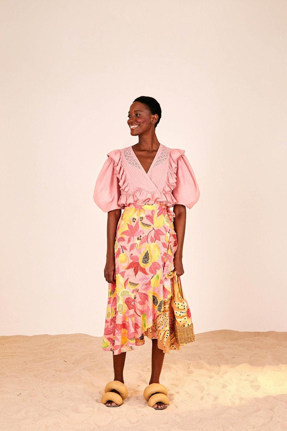 """<br><br><strong>Farm Rio</strong> Dual Prints Midi Skirt, $, available at <a href=""""https://go.skimresources.com/?id=30283X879131&url=https%3A%2F%2Fwww.farmrio.com%2Fcollections%2Fsale%2Fproducts%2Fdual-prints-midi-skirt"""" rel=""""nofollow noopener"""" target=""""_blank"""" data-ylk=""""slk:Farm Rio"""" class=""""link rapid-noclick-resp"""">Farm Rio</a>"""