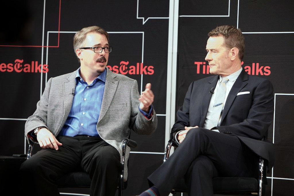"Vince Gilligan and Bryan Cranston attend TimesTalk Presents An Evening With ""Breaking Bad"" at Times Center on July 30, 2013 in New York City."