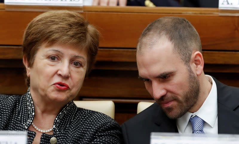 FILE PHOTO: IMF Managing Director Kristalina Georgieva and Argentina's Economy Minister Martin Guzman attend a conference hosted by the Vatican on economic solidarity