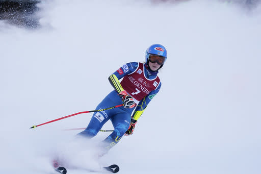 United States' Mikaela Shiffrin reacts after completing an alpine ski, women's World Cup giant slalom, in Kranjska Gora, Slovenia, Saturday, Jan. 16, 2021. (AP Photo/Giovanni Auletta)