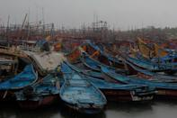 Fishery Boats parked in Dhamra area of Bhadrak district, 160 km away from the eastern Indian state Odisha's capital city as the Cyclone 'Amphan' cross the Bay of Bengal Sea's eastern coast making devastation on the cyclonic weather wind and rain and make landfall on the boarder of West Bengal and Bangladesh on May 20, 2020. (Photo by STR/NurPhoto via Getty Images)