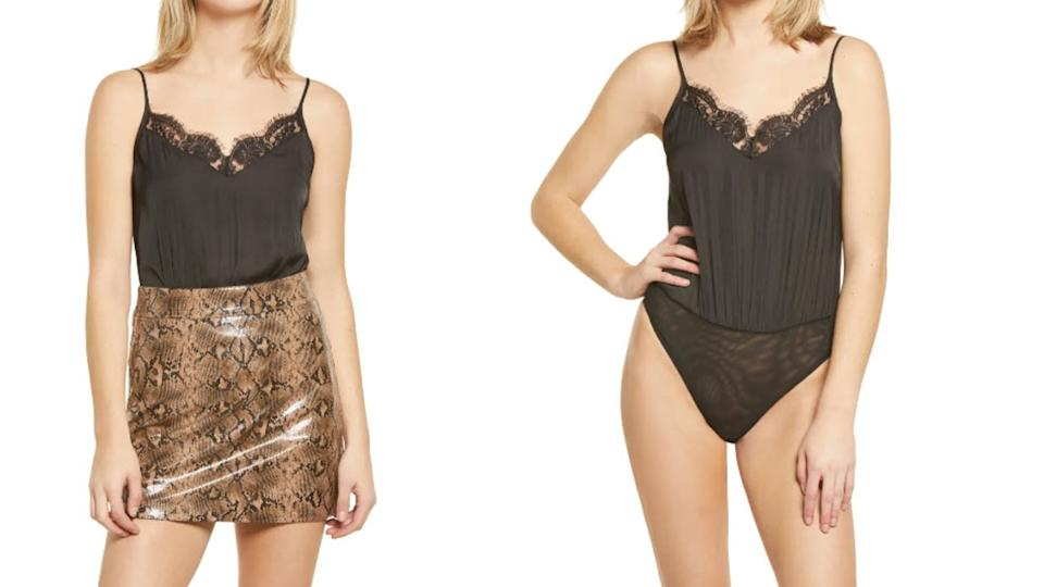 Socialite Lace Trim Satin Bodysuit - Nordstrom. $15 (originally $45)