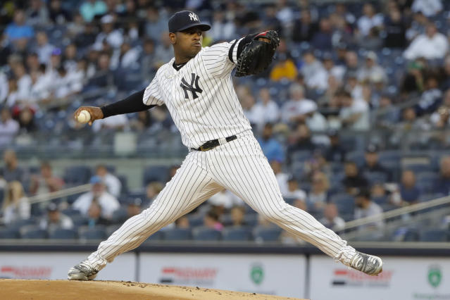 CORRECTS SPELLING TO SEVERINO, INSTEAD OF SERVERINO - New York Yankees' Luis Severino delivers a pitch during the first inning of a baseball game against the Los Angeles Angels Tuesday, Sept. 17, 2019, in New York. (AP Photo/Frank Franklin II)