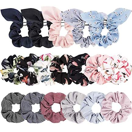 multicolors hair scrunchies with bows and patterns