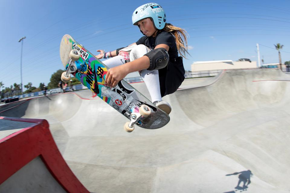 Eleven-year-old skateboarder Sky Brown trains to become Britain's youngest summer Olympian at a skatepark in Huntington Beach, California, U.S., September 20, 2019. Picture taken September 20, 2019.    REUTERS/Mike Blake     TPX IMAGES OF THE DAY
