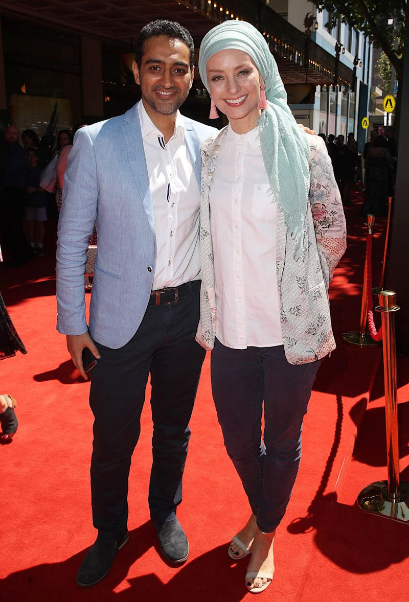A photo of Waleed Aly and Dr Susan Carland on the red carpet.