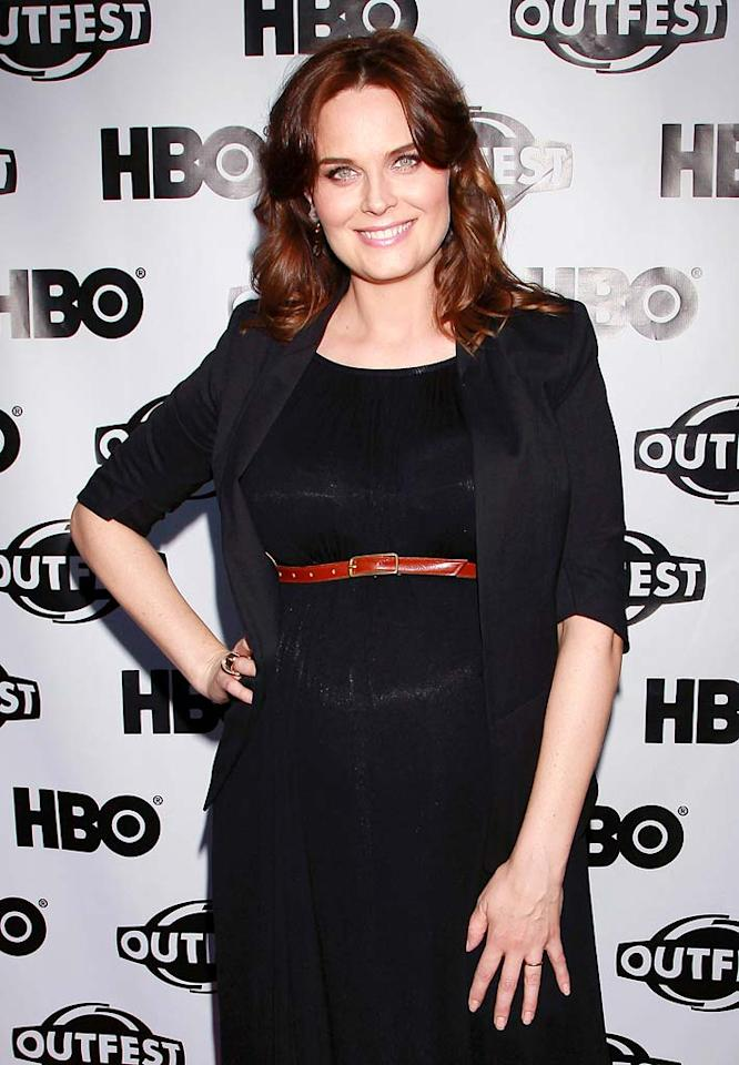 """""""Bones"""" actress Emily Deschanel gave birth to son Henry Lamar on September 25, just a few days after celebrating her one-year wedding anniversary to actor/writer David Hornsby."""