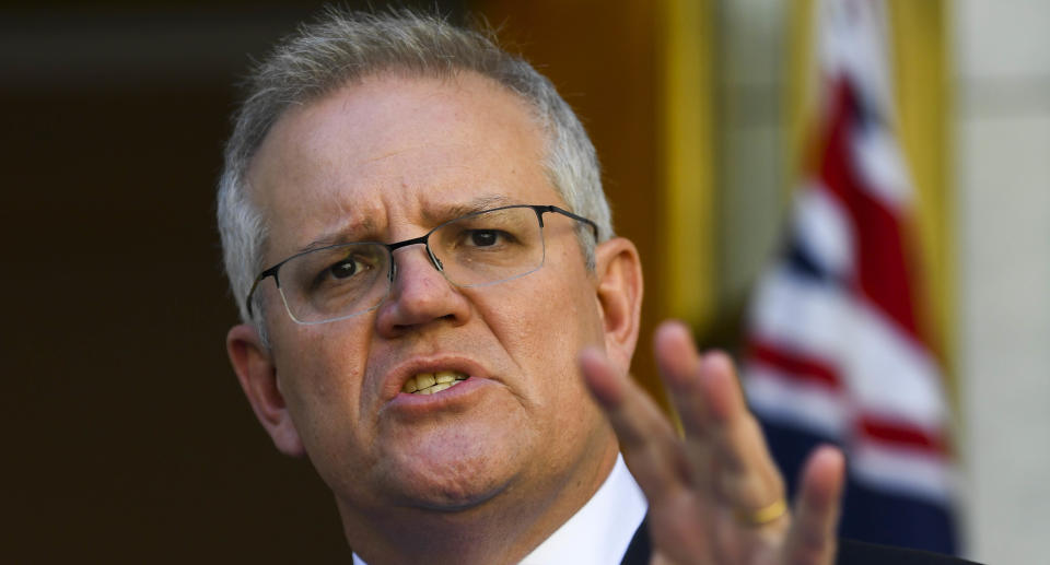 Prime Minister Scott Morrison speaks to the media during a press conference at Parliament House in Canberra, Wednesday, August 18, 2021. (AAP Image/Lukas Coch) NO ARCHIVING