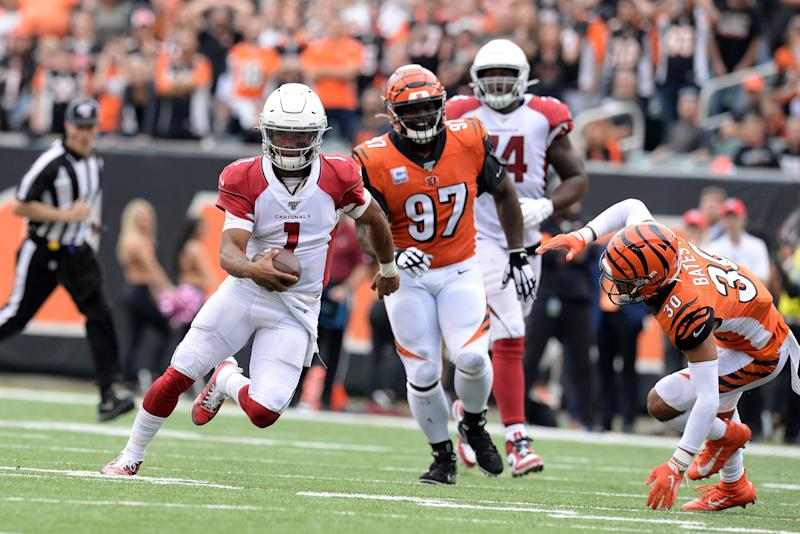 CINCINNATI, OH - OCTOBER 06: Cincinnati Bengals Defensive Tackle Geno Atkins (97) and Cincinnati Bengals Safety Jessie Bates III (30) chase Arizona Cardinals Quarterback Kyler Murray (1) during the NFL football bag between the Arizona Cardinals and the Cincinnati Bengals on October 6, 2019, at Paul Brown Stadium in Cincinnati, Ohio. (Photo by Michael Allio/Icon Sportswire via Getty Images)