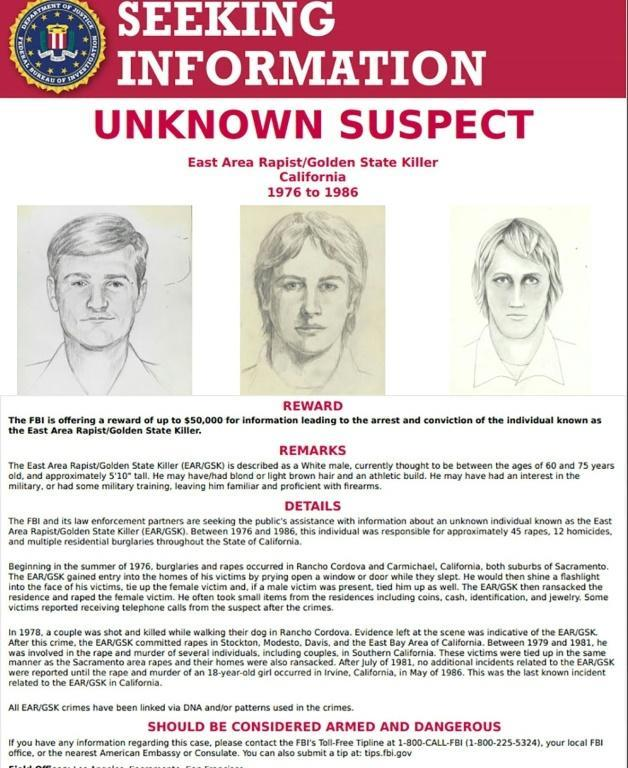 """FBI wanted poster obtained in 2018 shows identity kit pictures of the suspect known as the """"Golden State Killer"""""""