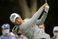 Collin Morikawa drives his ball off the ninth tee during the second round of the RBC Heritage golf tournament in Hilton Head Island, S.C., Friday, April 16, 2021. (AP Photo/Stephen B. Morton)
