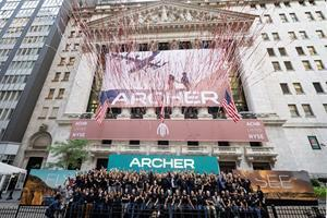 Archer team celebrates Opening Bell ceremony in front of the NYSE.