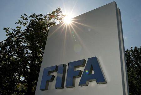 The logo of FIFA is seen in front of its headquarters in Zurich