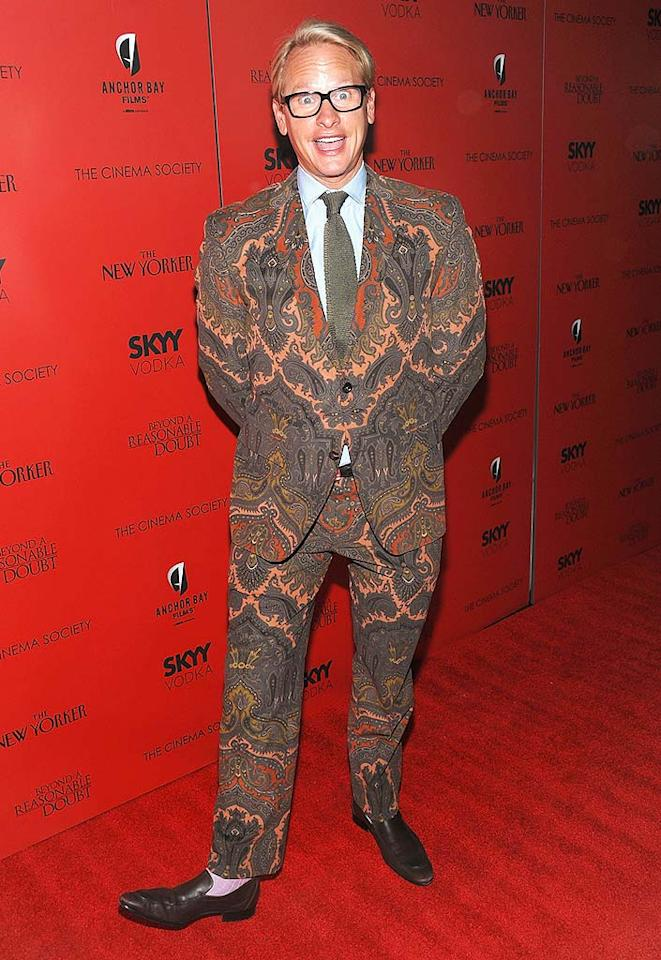 "Style maven Carson Kressley was swank on ""Queer Eye for the Straight Guy,"" but the paisley suit and pink socks he sported to a recent Cinema Society screening were totally rank. Dimitrios Kambouris/<a href=""http://www.wireimage.com"" target=""new"">WireImage.com</a> - September 9, 2009"