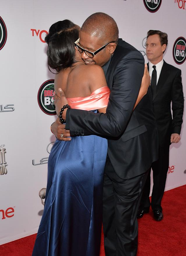 PASADENA, CA - FEBRUARY 22: Actress Kerry Washington (L) and actor Forest Whitaker attend the 45th NAACP Image Awards presented by TV One at Pasadena Civic Auditorium on February 22, 2014 in Pasadena, California. (Photo by Alberto E. Rodriguez/Getty Images for NAACP Image Awards)