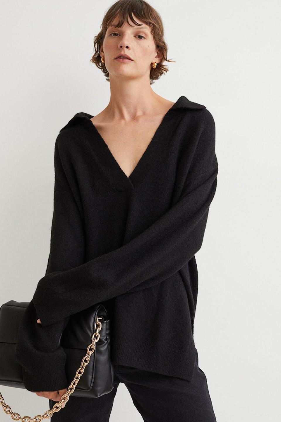 """The intentionally oversized fit on this v-neck sweater will give any outfit you put together a laissez-faire kind of cool. $25, H&M. <a href=""""https://www2.hm.com/en_us/productpage.1009803003.html"""" rel=""""nofollow noopener"""" target=""""_blank"""" data-ylk=""""slk:Get it now!"""" class=""""link rapid-noclick-resp"""">Get it now!</a>"""