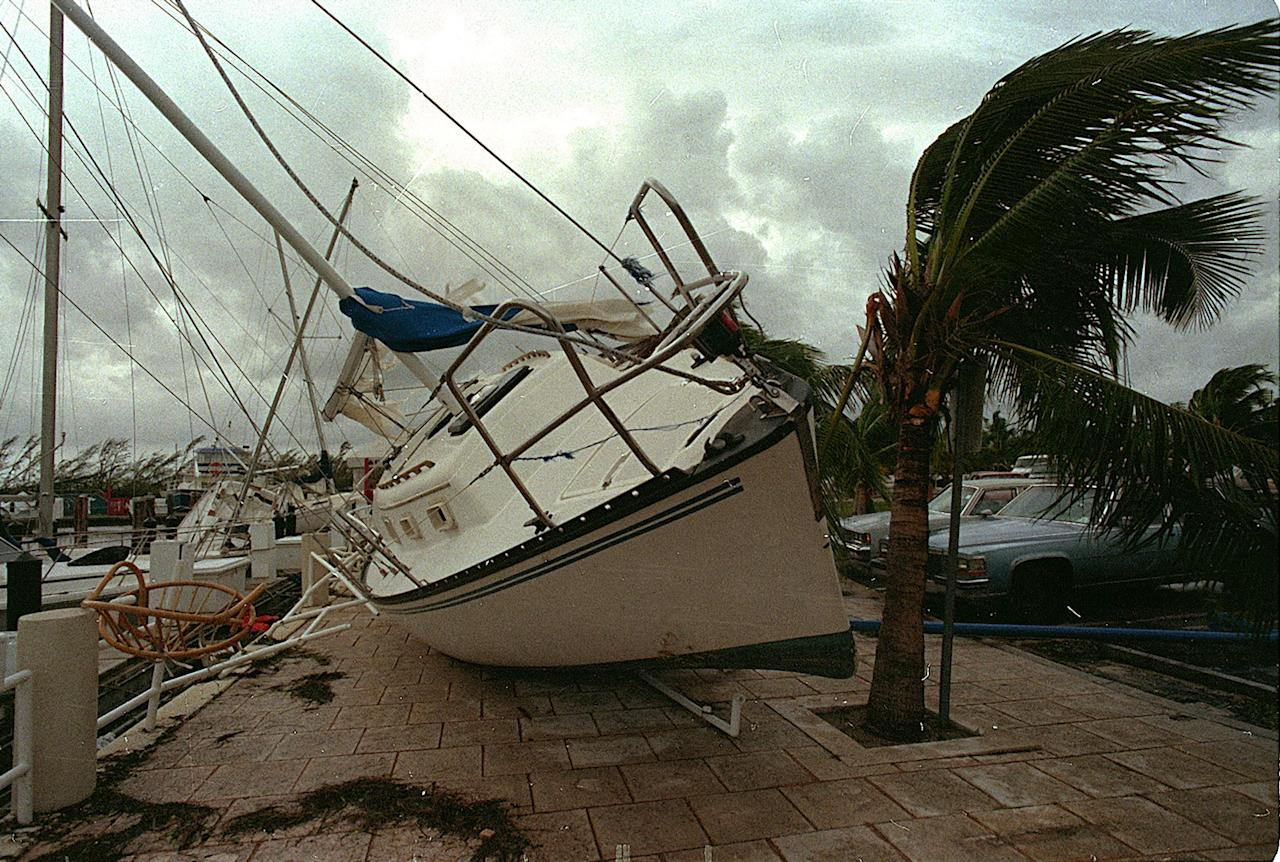 <p>In this Aug. 24, 1992 file photo, a sailboat sits on a sidewalk at Dinner Key in Miami after it was washed ashore by Hurricane Andrew. Several days after it almost dissipated, Andrew rapidly strengthened and was a Category 5 storm at landfall in Homestead, Fla. The Hurricane Center measured a peak wind gust of 164 mph. Andrew continued into the Gulf of Mexico before reaching the central Louisiana coast as a Category 3 hurricane. Andrew was blamed for 23 deaths in the U.S. and three deaths in the Bahamas and caused an estimated $26.5 billion in damage in the United States. (AP Photo/Terry Renna, File) </p>