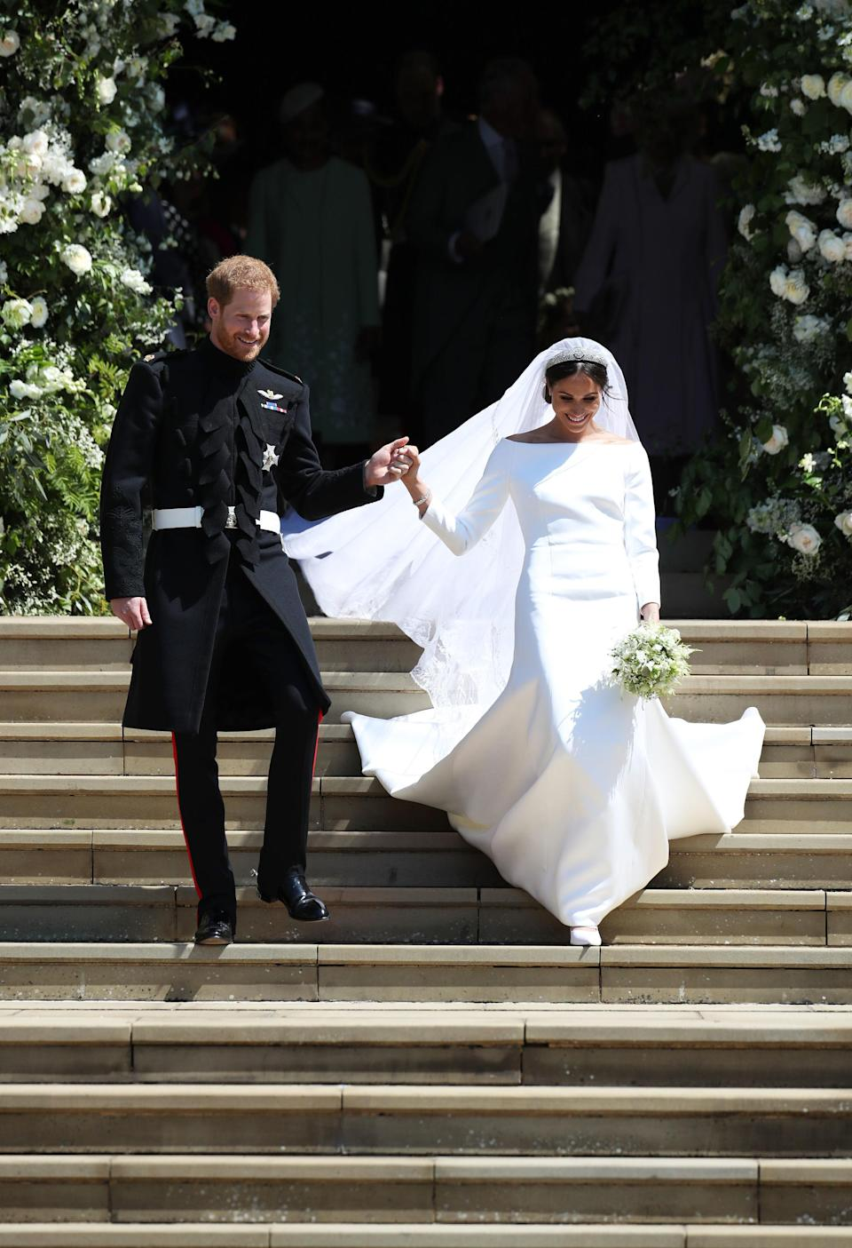 The 92-year-old Monarch is said to be a 'stickler for the rules' and also was quite surprised when Meghan wore a crisp white, long-sleeved Givenchy gown on her wedding day – due to the fact that the Duchess has been married once before. Photo: Getty Images