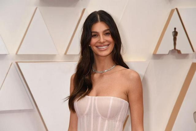 Camila Morrone wore a re-imagined wedding dress to Sunday night's Oscars. (Getty)