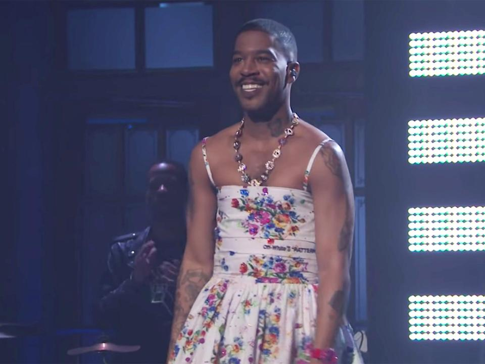 Kid Cudi wears a floral dress during his performance on Saturday Night Live (NBC)