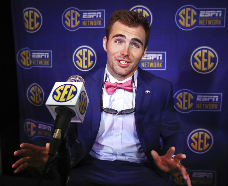 Georgia quarterback Jake Fromm speaks during SEC media days on Tuesday, July 16. (AP)