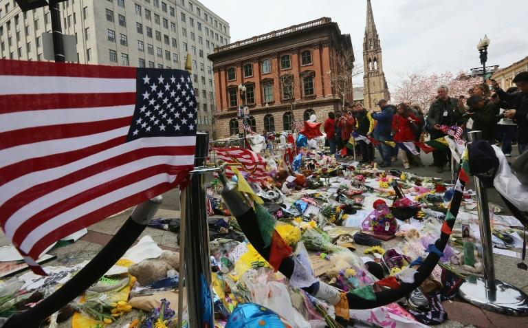 A makeshift memorial site for victims of the Boston Marathon bombing, photographed in April 2013